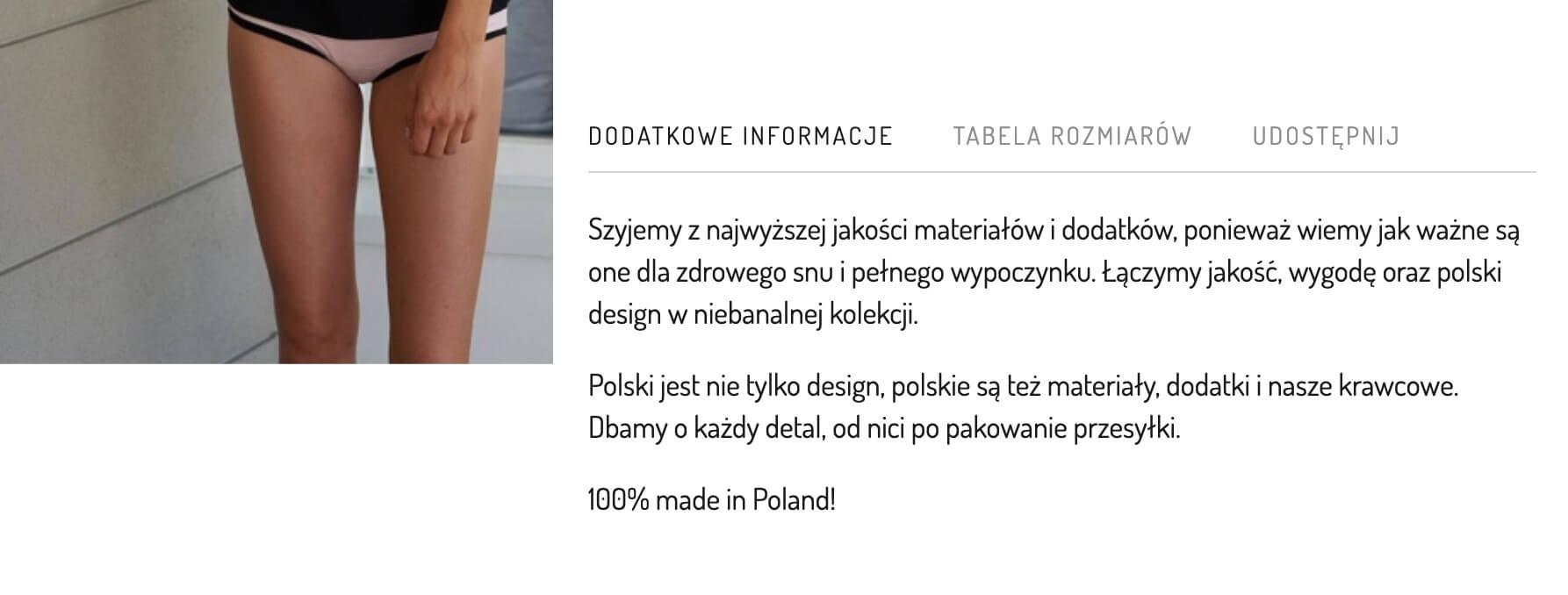 sleepinwarsaw - jak pisać opisy produktów ubrań