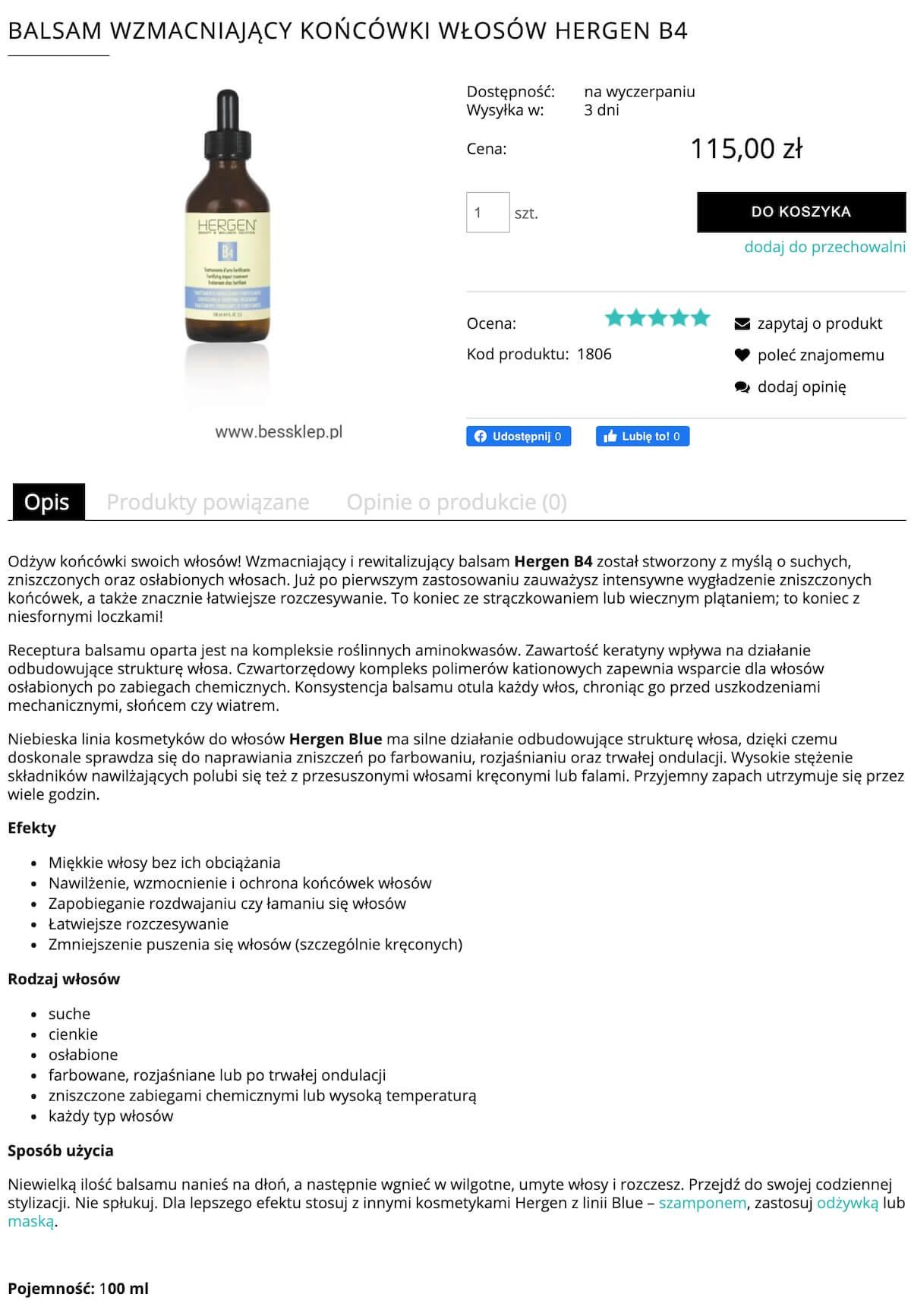 Portfolio copywritera - opisy produktów kosmetycznych